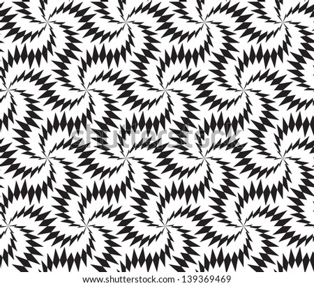 Abstract seamless black and white pattern with stylized thorny six stars - stock photo