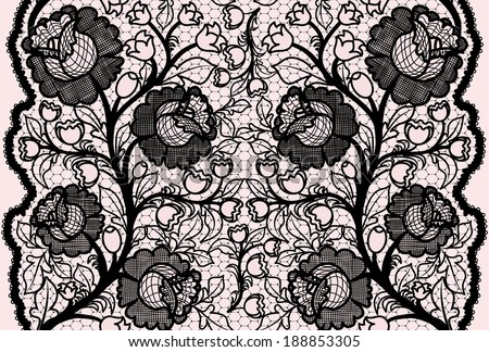 Abstract seamless black lace ribbon with feminine floral pattern.  - stock photo