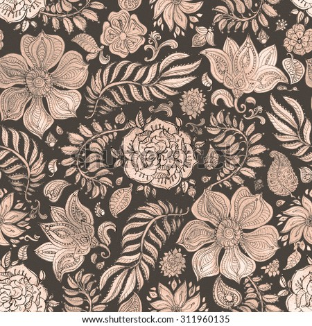 Abstract seamless floral pattern of dark beige and brown colored hand drawn by pencil outline fantasy leaves, flowers and curly branches on a dappled black background. Thanksgiving Day  decoration - stock photo
