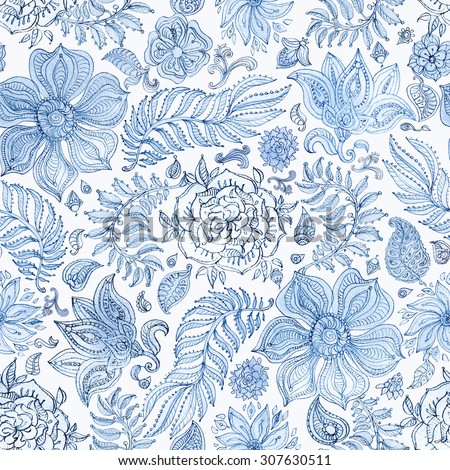 Abstract seamless floral pattern of light blue colored hand drawn by pencil outline fantasy leaves, flowers and curly branches on a white background. Coloring book illustration - stock photo