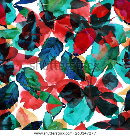 Abstract seamless floral pattern. watercolor illustration of flowers and leaves with effect overlay - stock photo