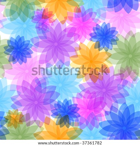 Abstract seamless floral pattern with translucent flowers