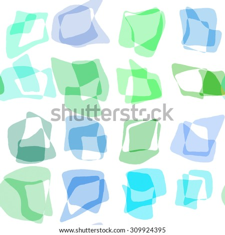 Abstract seamless geometric blue and green pattern. Repeating geometric shapes