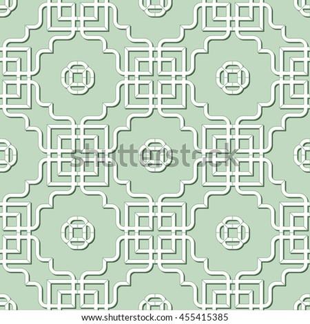 Abstract Seamless Geometric Islamic Wallpaper. Arabic Monochrome Pattern. Lace Texture - stock photo