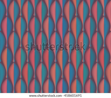 Abstract seamless geometric rhythmical orange and blue pattern. Art deco style. Repeat decorative feather, leaf, fan with edge. Wallpaper for PC, laptop or phone. Wrapping paper. - stock photo