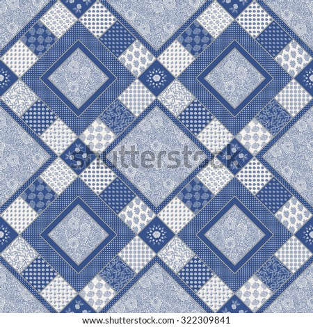 Abstract seamless geometrical patchwork pattern from indigo blue and light beige floral lacy ornaments from stylized rose flowers and leaves in Provence style.Textile design, batik paint, pillow decor - stock photo