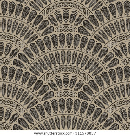 Abstract seamless geometrical pattern with fish scale layout from black fan shaped ornate feather and leaves elements with ethnic patterns on a spotted beige background. Halloween decoration - stock photo