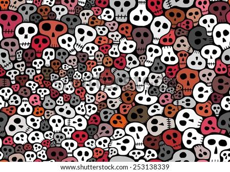 Abstract seamless Illustration of lots of skulls  - stock photo