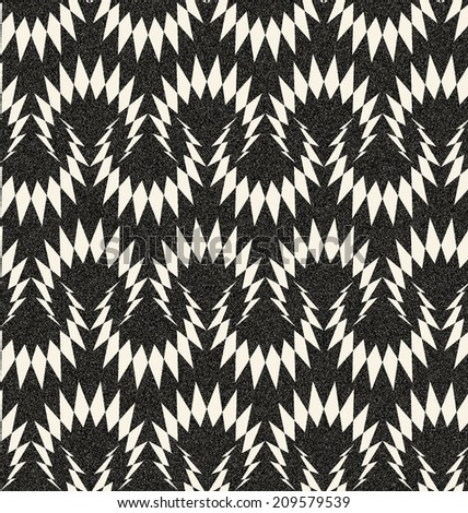 Abstract seamless monochrome pattern in retro style with winding thorn structure. Retro decoration with gothic motive, sepia tone and speckled texture. Visual effect of old worn down background.   - stock photo