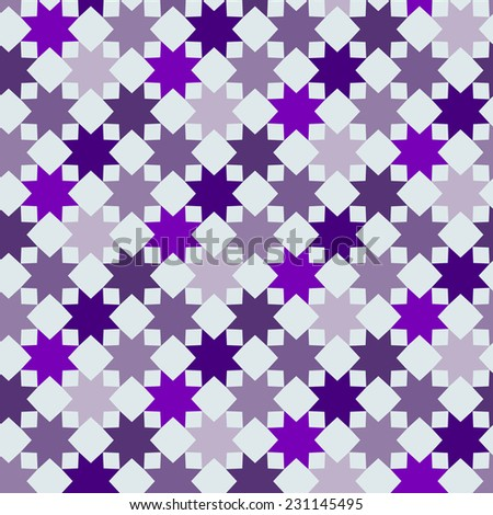 Abstract seamless pattern based on geometric shapes. Can be used as decoration for the gift boxes, wallpapers, backgrounds, web sites. Geometrical ornament with purple stars. - stock photo