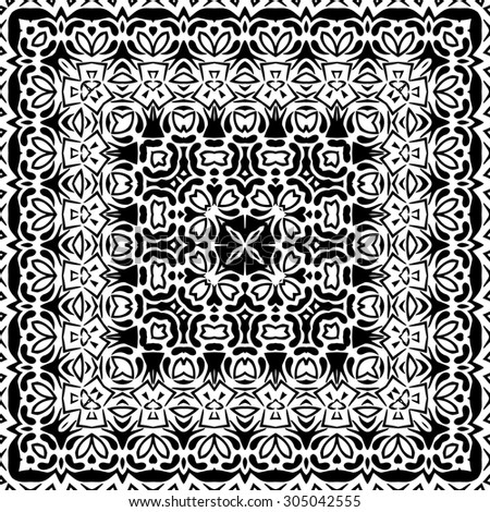 Abstract Seamless Pattern, Black Contours Isolated on White Background.