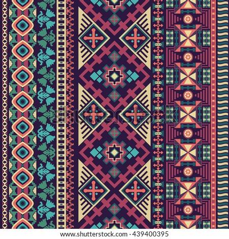 Abstract seamless pattern. Boho style. Geometric wallpaper. Ornamental border - stock photo