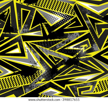 Abstract seamless pattern for boy. Dangerous modern geometric background with squares, yellow, grey and black colors. Grunge urban wallpaper with speed motion elements, shapes, brush, spray, drops. - stock photo