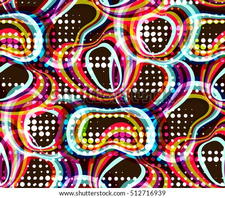 Abstract seamless pattern. Geometrical motifs, bright colors. Retro style 60s
