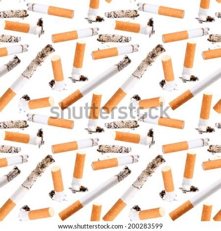 Abstract seamless pattern of cigarette butt. Isolated on white background. Close-up. Studio photography. - stock photo