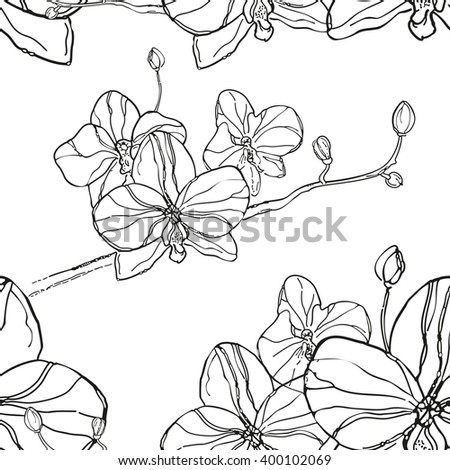 Abstract Seamless Pattern with black orchids flower on White Background. The hand drawn ink sketch. Can be use for print clothes and canvas, wallpaper, greeting cards or invitations.Rasterized version - stock photo