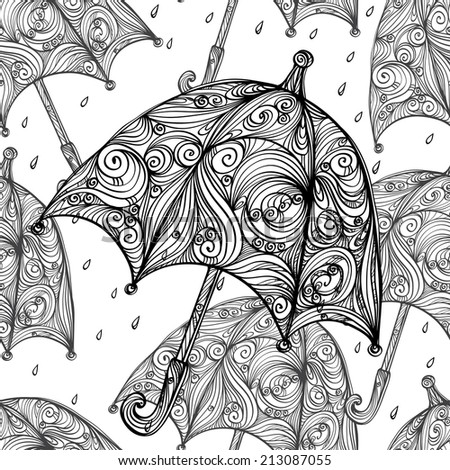 Abstract seamless pattern with cartoon umbrellas and rain drops in black and white. Monochrome repeating background. Endless print texture. Fabric design. Wallpaper - raster version - stock photo