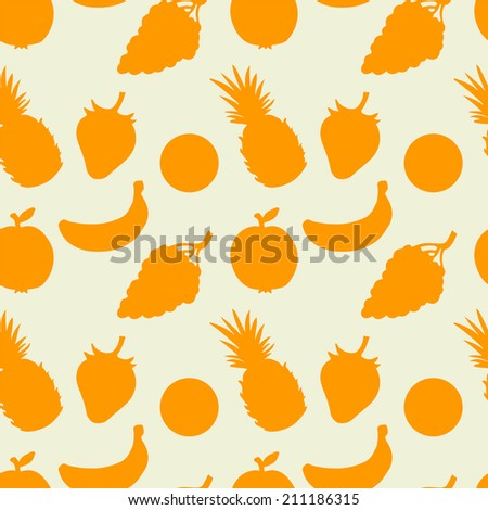 Abstract seamless pattern with fruits and berries.  - stock photo