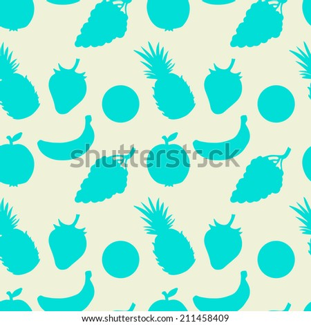 Abstract seamless pattern with fruits and berries. Summer. Food background. Pineapple. Strawberry. Apple. Oranges. Grapes. Banana. Endless print silhouette texture -  raster version  - stock photo