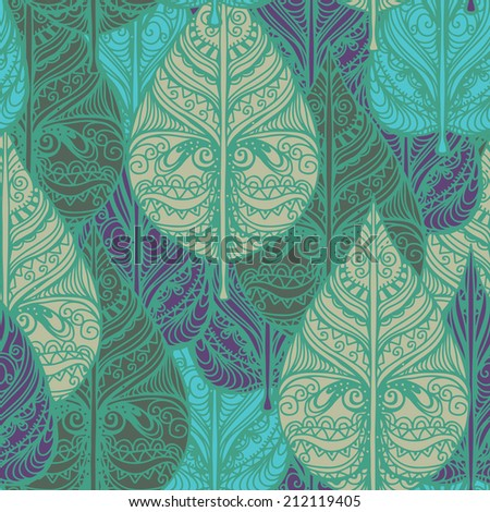 Abstract Seamless pattern with leaves. Floral repeating background. Endless print texture. Fabric design. Wallpaper - raster version - stock photo