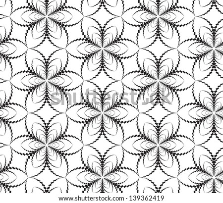 Abstract seamless pattern with stylized flower-like six star - stock photo