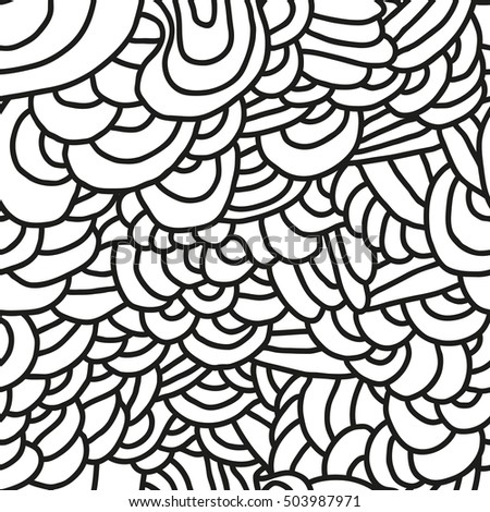 Abstract seamless patterns. Monochrome backgrounds with linear doodles, scales, diagonal waves, hand drawn graphics made with graphics tablet.