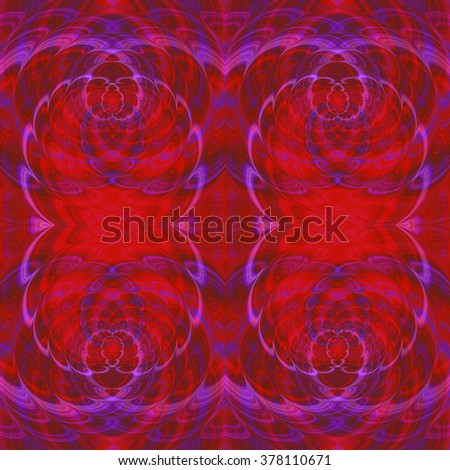 Abstract seamless red, pink and purple pattern with scalloped spirals - stock photo