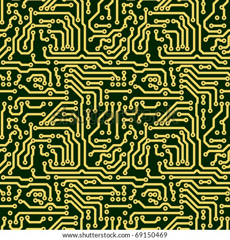 Abstract seamless texture - green electronic circuit board - stock photo