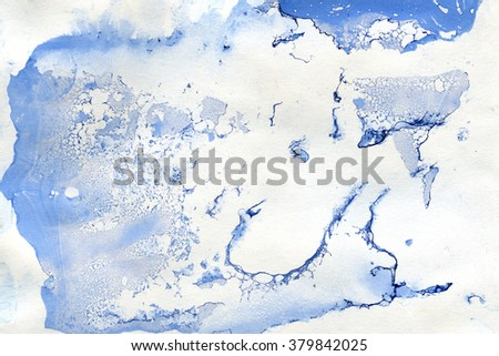 Abstract seamless watercolour aquarelle hand drawn wash drawing arty grunge creative splatters blots and blobs paper texture on blue background, horizontal picture