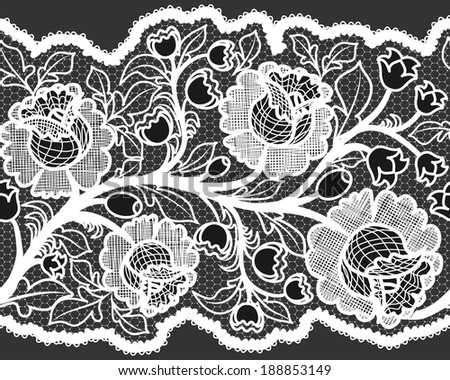 Abstract seamless white lace ribbon with feminine floral pattern. - stock photo