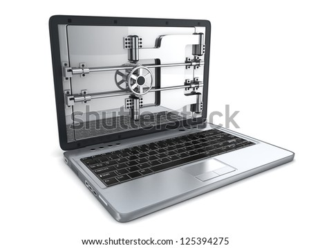 Abstract Secure laptop (done in 3d) - stock photo