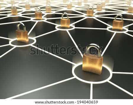 Abstract secure network concept on dark background - stock photo
