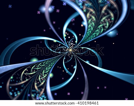 Abstract selective focus background - computer-generated image. Surreal blue flower like brooch with delicate petals and beads. Fractal background or graphic design element  - stock photo