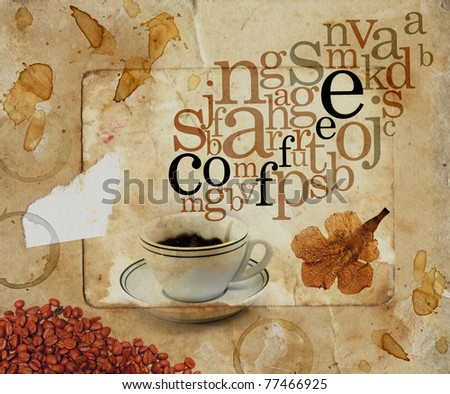 Abstract sepia background with coffee cup and letters coming out as smoke. - stock photo