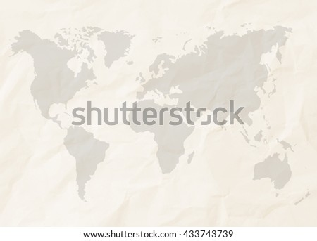 Abstract sepia color crumpled paper or recycle paper for backgrounds with world map in black tone  - stock photo