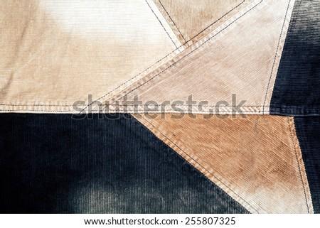 Abstract sewed brown corduroy background   - stock photo