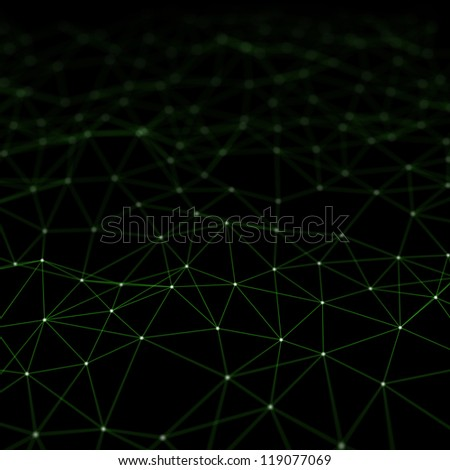 Abstract shape from connected white dots with green lines and shallow depth of field. - stock photo