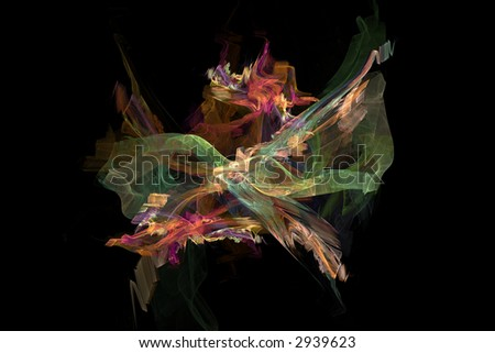 Abstract shape in a form of fairy butterfly over black - stock photo