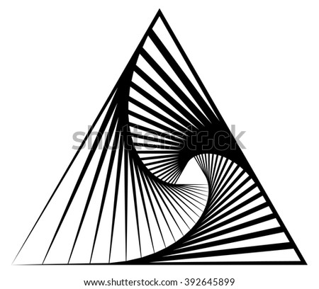Abstract shape with vortex, rotation effect inwards - stock photo