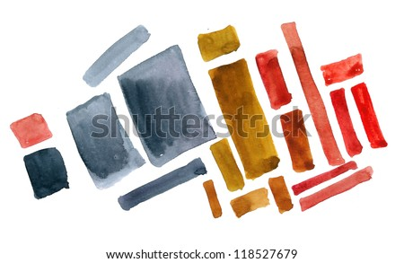 Abstract shapes  painted in watercolor - stock photo