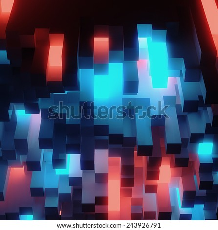 Abstract shining block sci-fi architecture background - 3D render - stock photo
