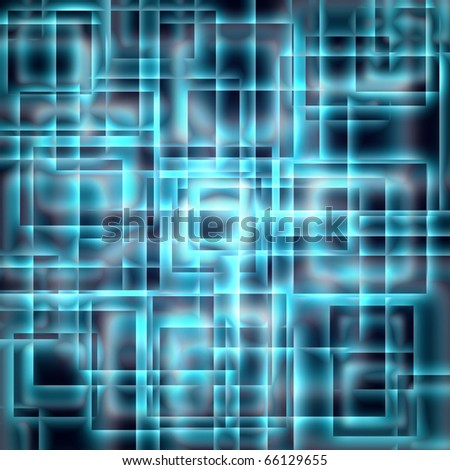 abstract shining blue squares on a dark background - stock photo