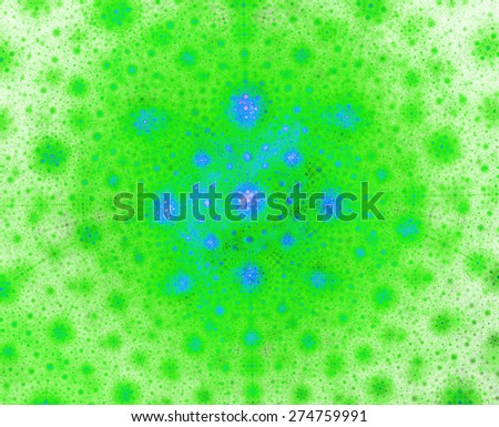 Abstract shining vivid green and blue background with spherical round pattern made out of small spheres