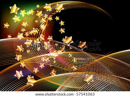 Abstract shiny golden background with stars, illustration