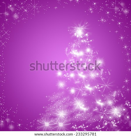 Abstract shiny winter holiday background/greeting card in violet and white, with Christmas tree. - stock photo