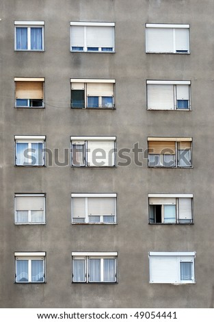 abstract shot of a building facade with windows - stock photo
