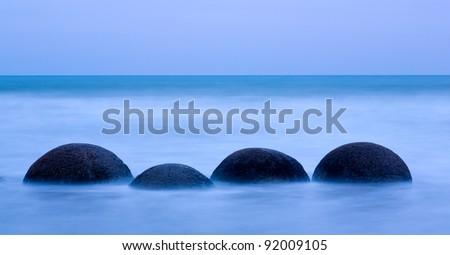Abstract Shot of the Moeraki Boulders South Island New Zealand - stock photo