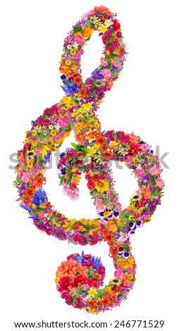 Abstract sign of a musical treble clef made from flowers. Isolated handmade spring collage - stock photo