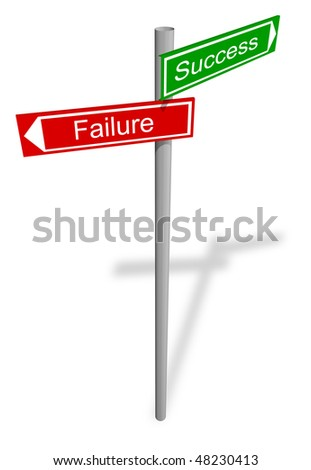 Abstract signpost for success and failure - stock photo