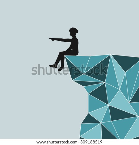 abstract silhouette climber in helmet sitting on the edge of the mountain and shows his hand into the distance. Safety. blue mountains in the technique Triangle. - stock photo